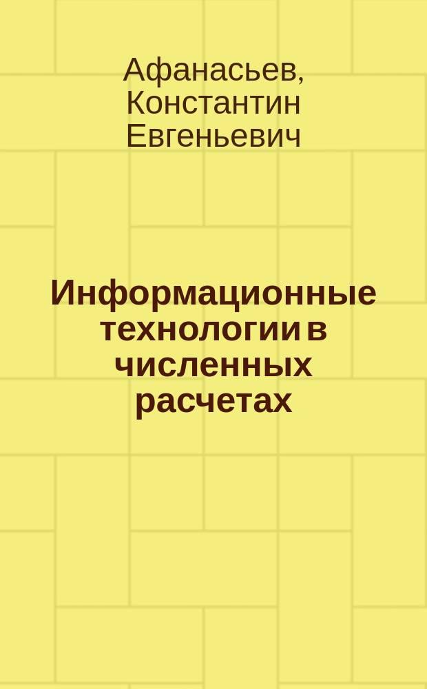 Информационные технологии в численных расчетах : Учеб. пособие