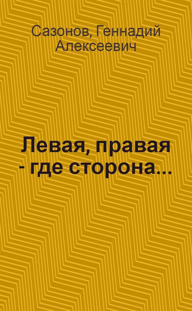 """Левая, правая - где сторона... : журналистское расследование: """"политическое дело"""" Александра Лукичева"""