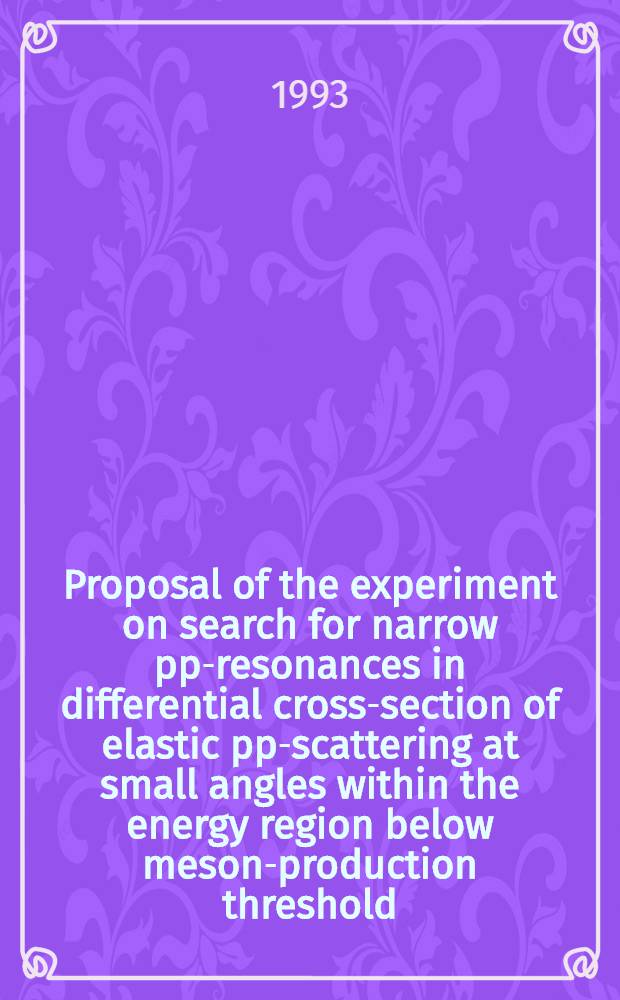 Proposal of the experiment on search for narrow pp-resonances in differential cross-section of elastic pp-scattering at small angles within the energy region below meson-production threshold