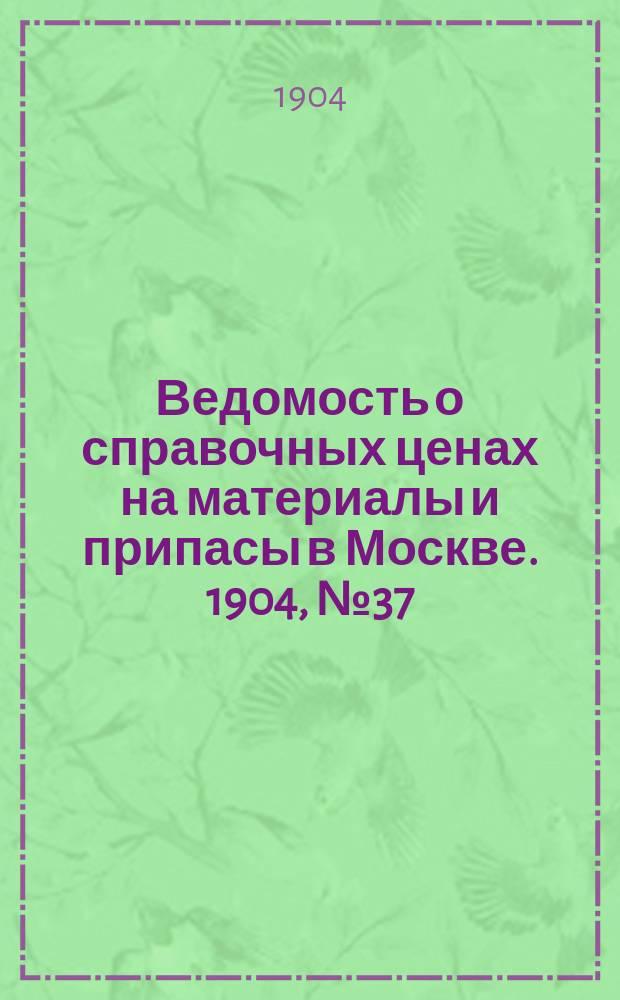 Ведомость о справочных ценах на материалы и припасы в Москве. 1904, №37