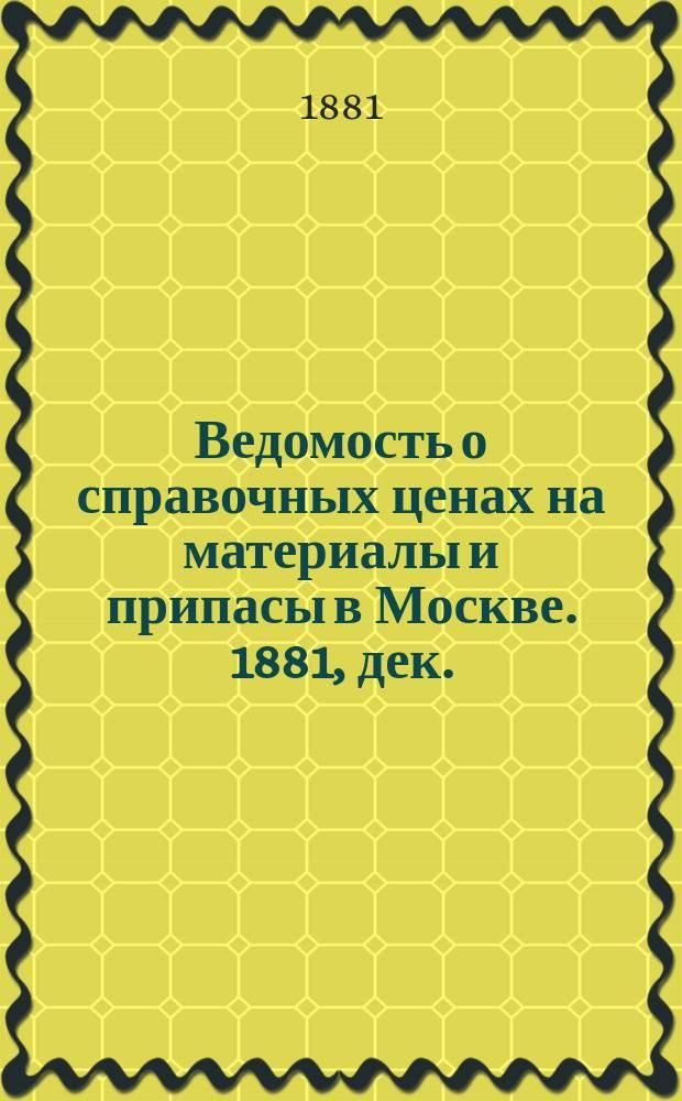 Ведомость о справочных ценах на материалы и припасы в Москве. 1881, дек.