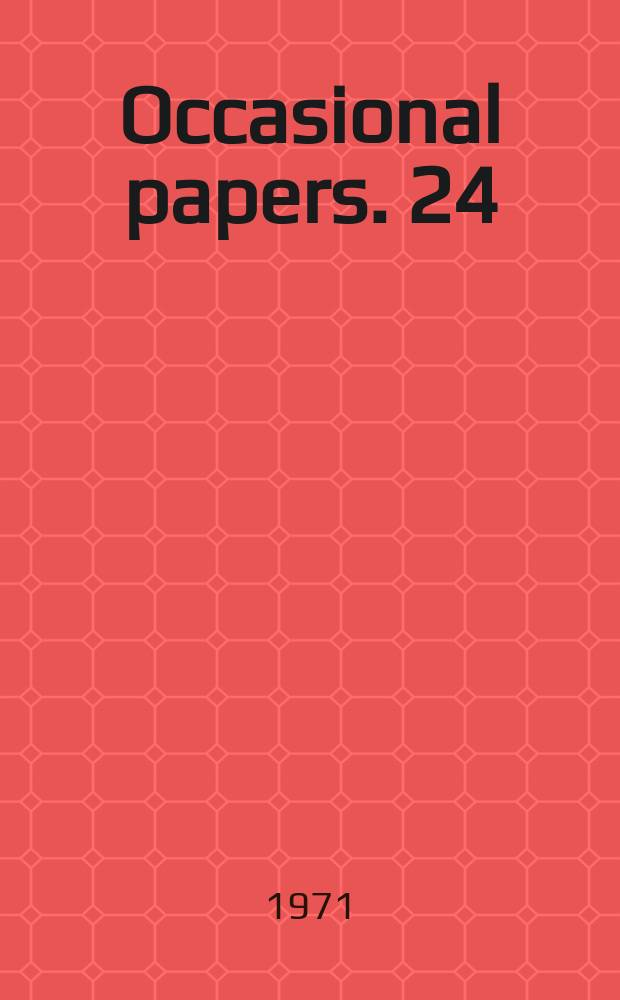 Occasional papers. 24 : International big business 1957 - 1967