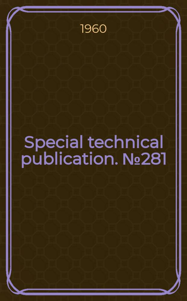 Special technical publication. №281 : Symposium on air pollution control