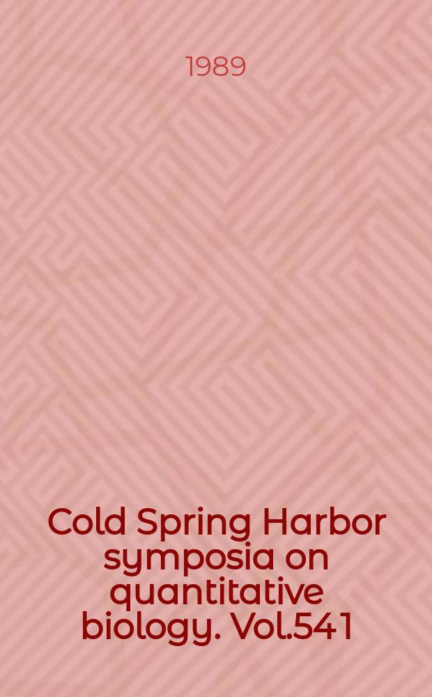 Cold Spring Harbor symposia on quantitative biology. Vol.54 [1] : (Immunological recognition)