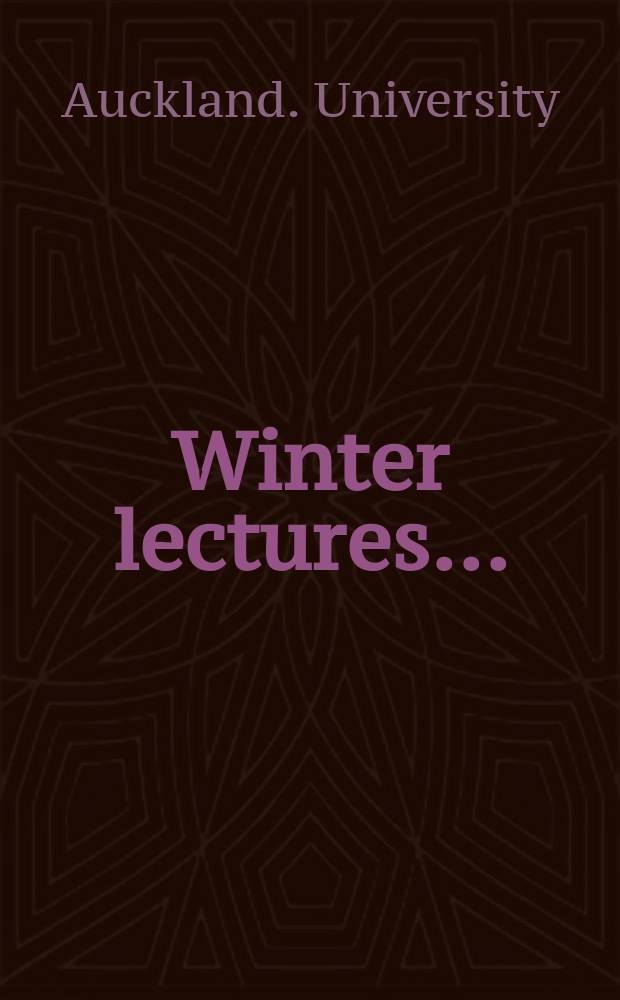 Winter lectures ...