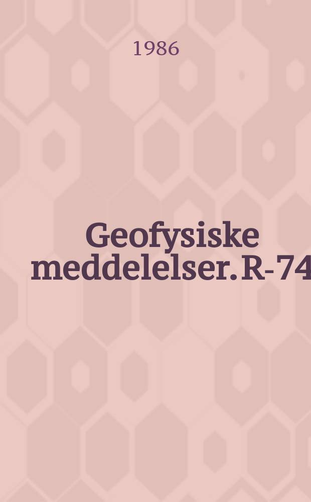 Geofysiske meddelelser. R-74 : Configuration of the quiet polar cap and its response to a sudden increase of the energy input rate ε