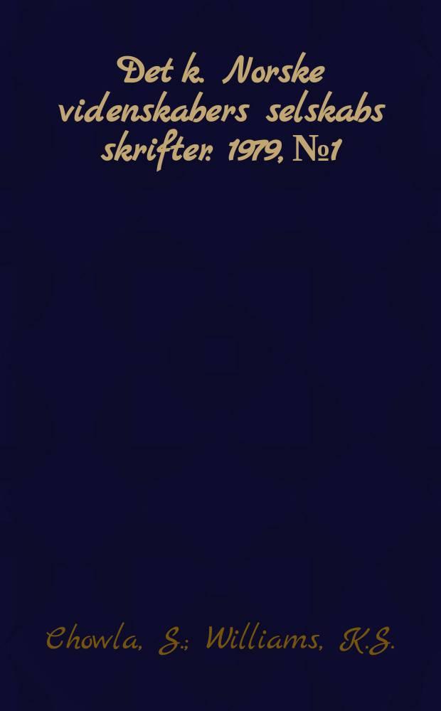 Det k. Norske videnskabers selskabs skrifter. 1979, №1 : Some problems from the study .... Remark on an assertion of Chowla