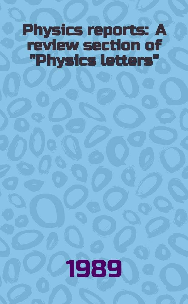 "Physics reports : A review section of ""Physics letters"" (Sect. C). Vol.173, №1 : BB mixing"