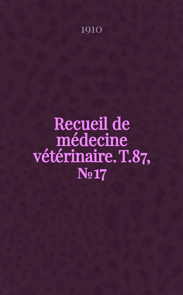 Recueil de médecine vétérinaire. T.87, №17