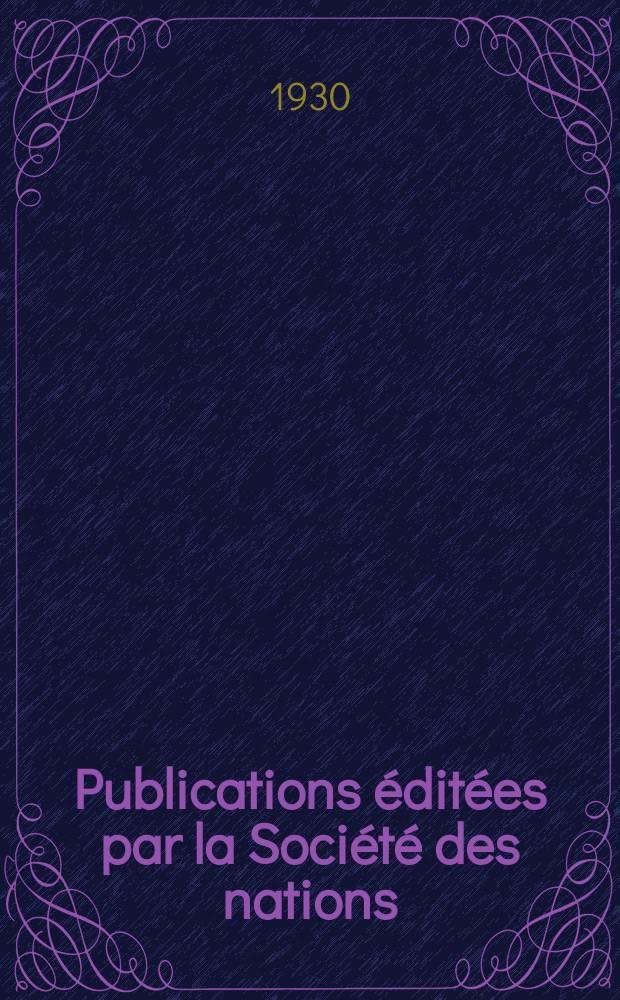 Publications éditées par la Société des nations