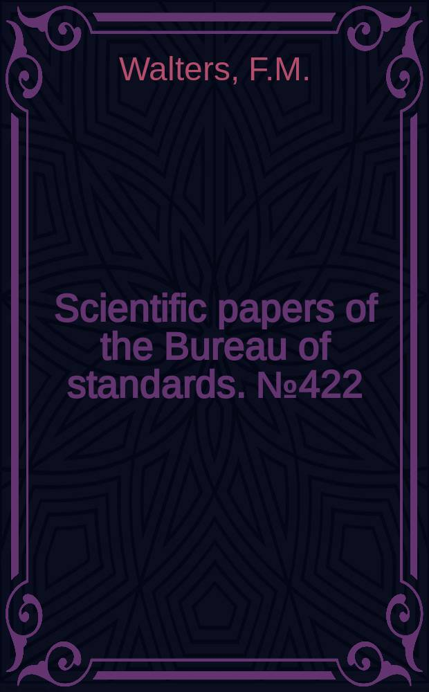 Scientific papers of the Bureau of standards. №422 : Studies in color sensitive photographic plates and methods of sensitizing by bathing