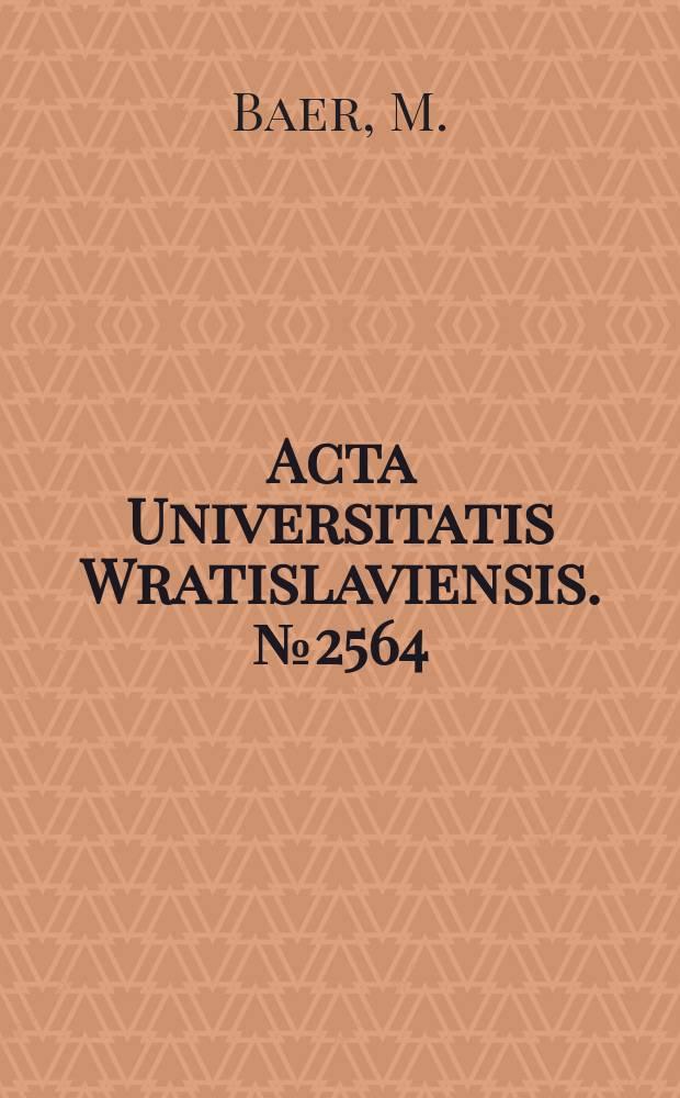 Acta Universitatis Wratislaviensis. №2564 : Women's spaces: class, gender..