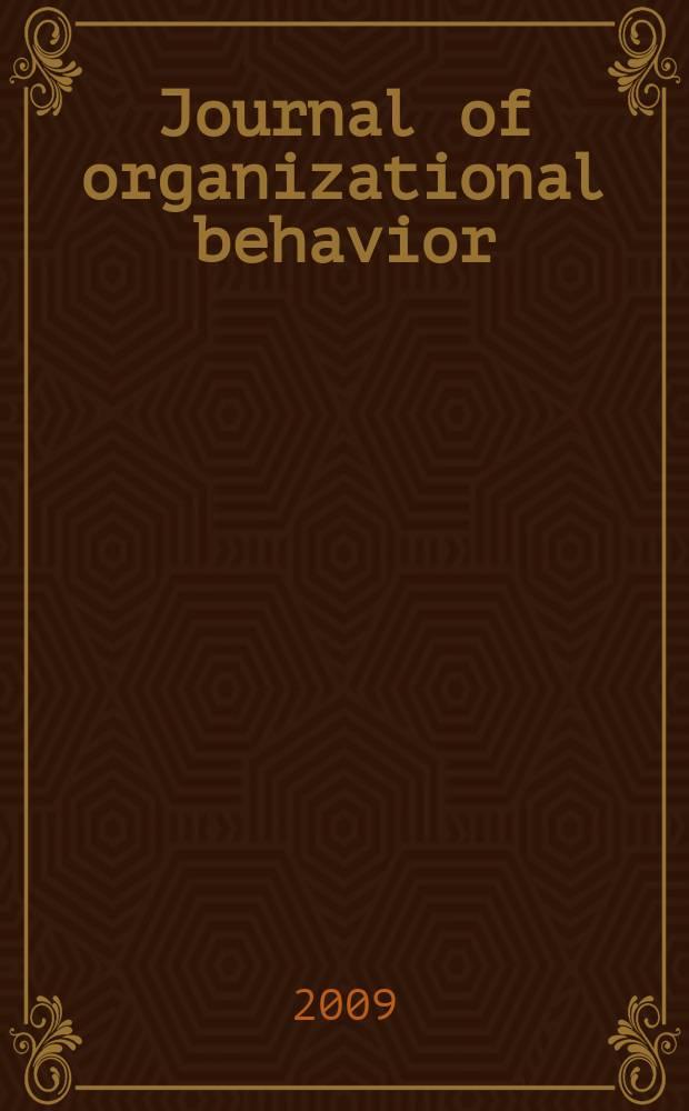 Journal of organizational behavior : The intern. journal of industrial, occupational and organizational psychology and behavior. Vol. 30, № 5 : Achieving work - family balance = Журнал организационного поведения