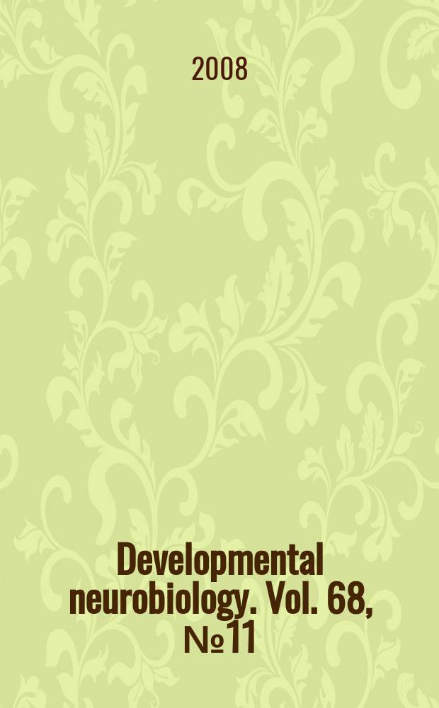 Developmental neurobiology. Vol. 68, № 11