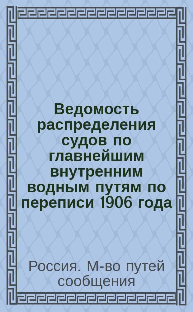 Ведомость распределения судов по главнейшим внутренним водным путям по переписи 1906 года
