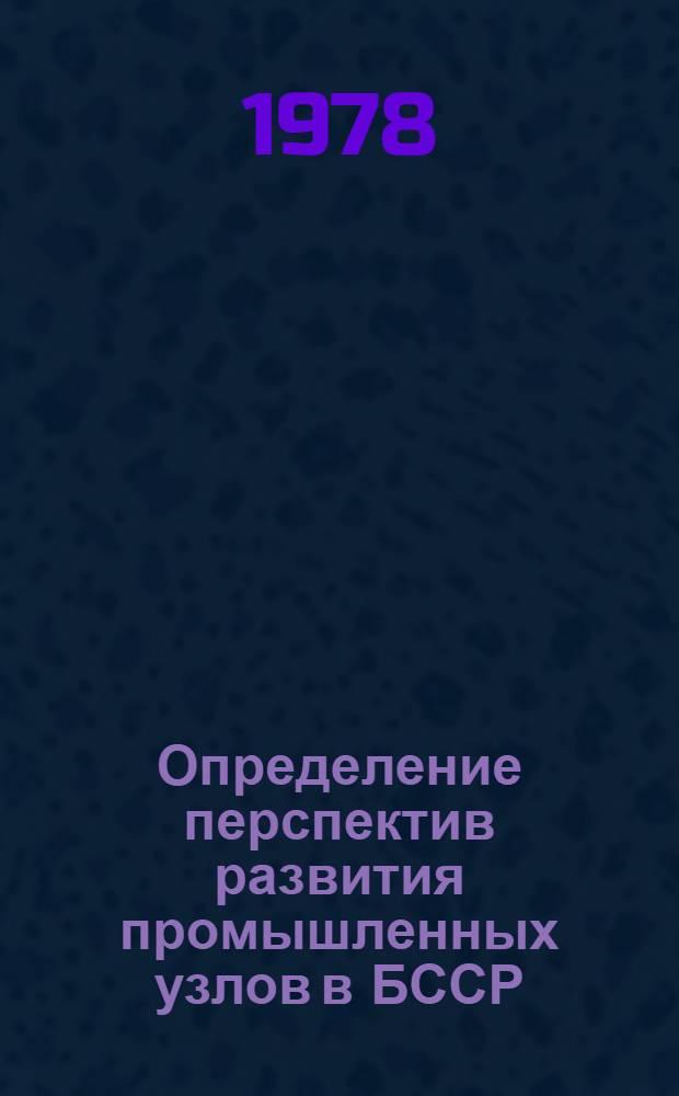 Определение перспектив развития промышленных узлов в БССР