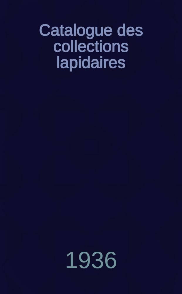 Catalogue des collections lapidaires