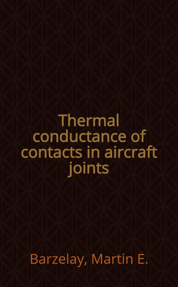 Thermal conductance of contacts in aircraft joints