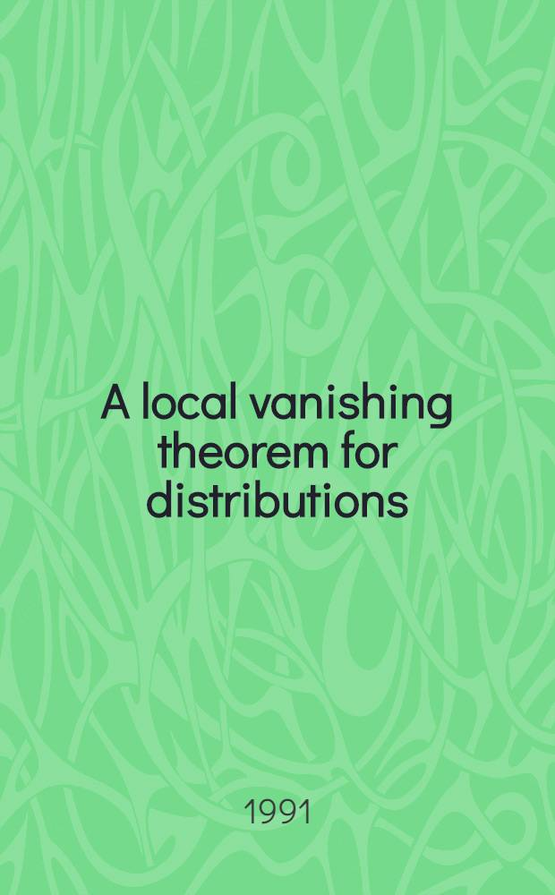 A local vanishing theorem for distributions