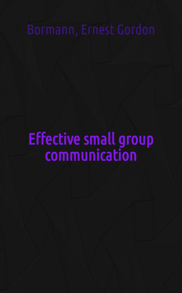 Effective small group communication