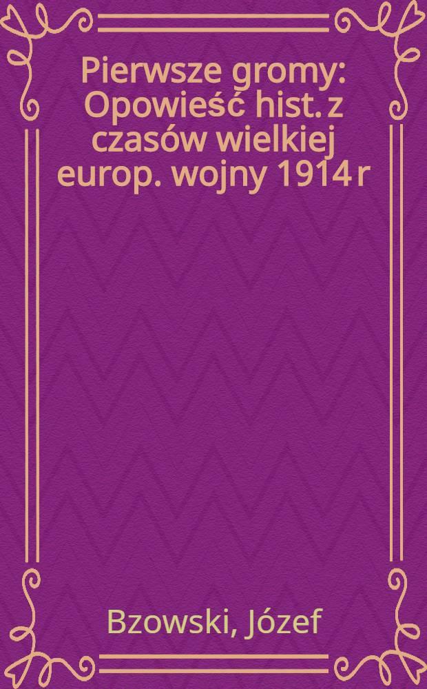 Pierwsze gromy : Opowieść hist. z czasów wielkiej europ. wojny 1914 r