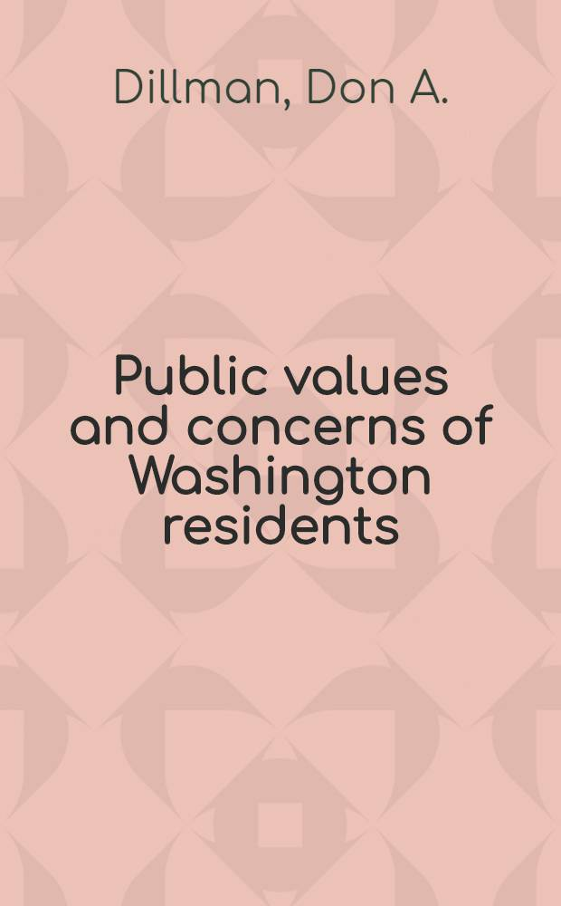 Public values and concerns of Washington residents