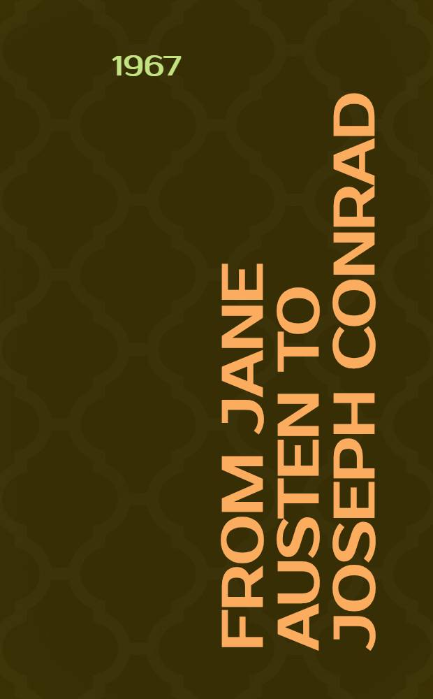 From Jane Austen to Joseph Conrad : Essays collected in memory of James T. Hillhouse