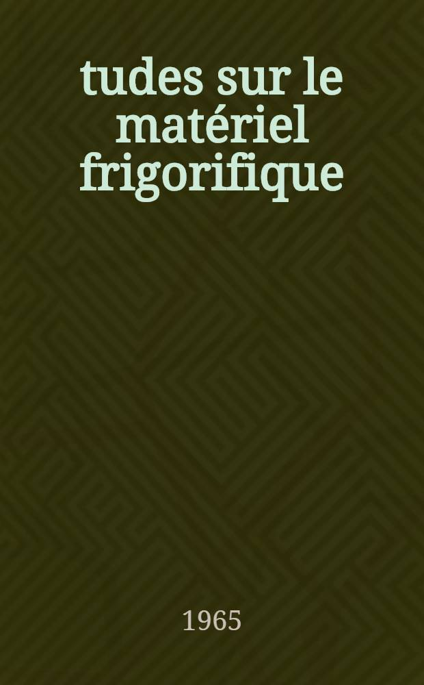 Études sur le matériel frigorifique: évaporateurs, fluides frigorigènes, compresseurs = Studies on refrigerating equipment: evaporators, refrigerants, compressors : Le conditionnement d'air: calcul des installations; applications dans les industries, théâtres, hôpitaux. Le froid dans l'industrie chimique: automatisme des installations. Quelques applications biologiques et médicales: hypothermie; congélation des systèmes biologiques; lyophilisation : Air conditioning: calculations; applications in industry, theatres, hospitals. Refrigeration in the chemical industry: automated installations. Biological and medical applications: hypothermia; freezing of biological elements; freeze-drying