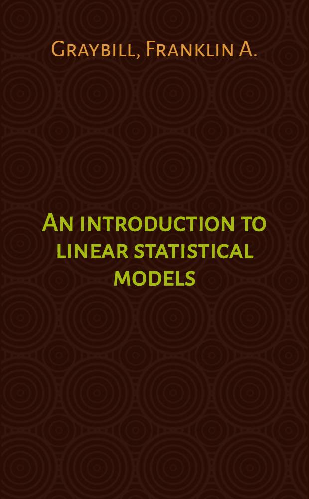 An introduction to linear statistical models