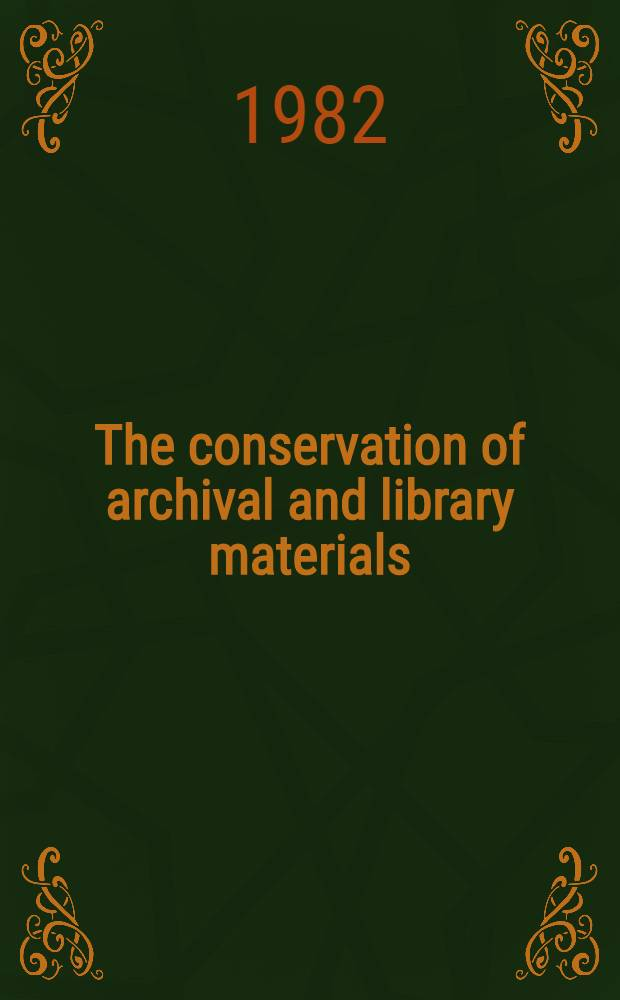 The conservation of archival and library materials : A resource guide to audiovisual aids
