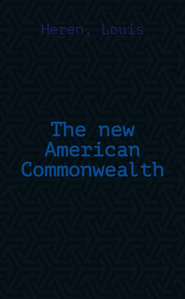The new American Commonwealth