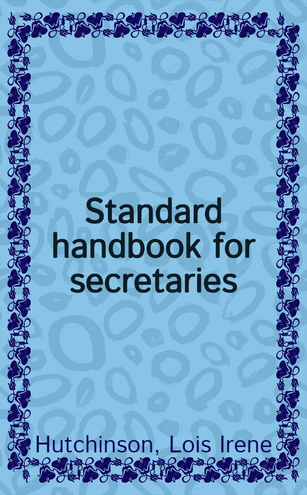 Standard handbook for secretaries