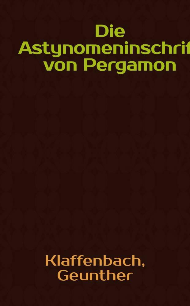 Die Astynomeninschrift von Pergamon