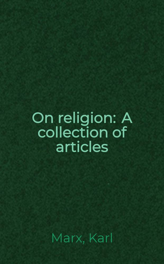On religion : A collection of articles = О религии