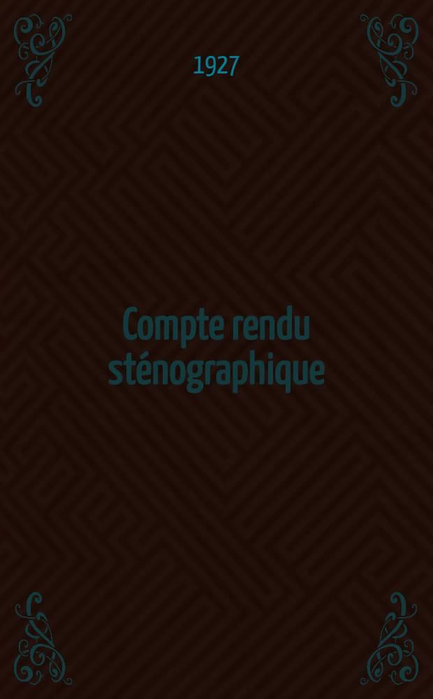 Compte rendu sténographique