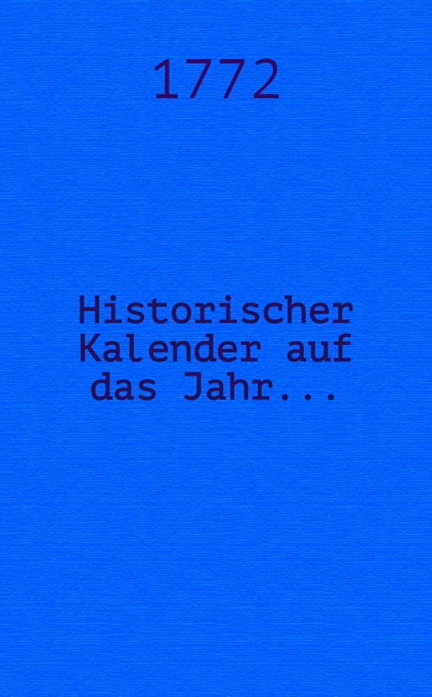 Historischer Kalender auf das Jahr..