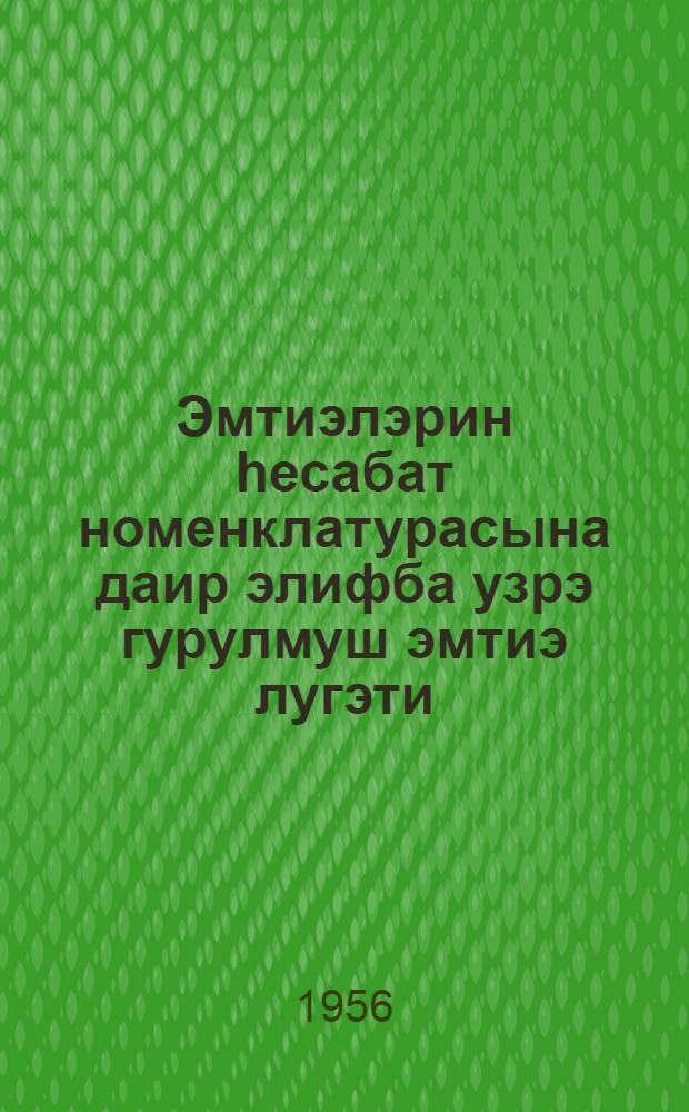 Эмтиэлэрин hесабат номенклатурасына даир элифба узрэ гурулмуш эмтиэ лугэти : эмтиэ лугэтинэ элавэ = Алфавитный товарный словарь к отчетной номенклатуре товаров